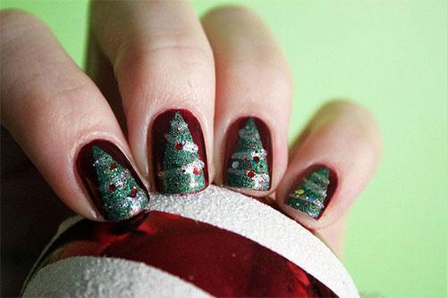 Christmas Tree Toe Nail Designs : Simple easy christmas tree nail art designs ideas