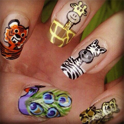 Cute-Zoo-Farm-Animals-Nail-Art-Designs-Ideas-2013-2014-2