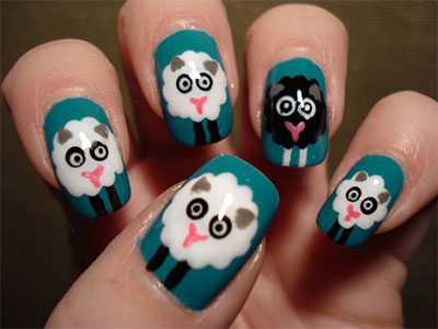 Cute-Zoo-Farm-Animals-Nail-Art-Designs-Ideas-2013-2014-4