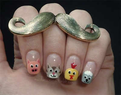 Cute-Zoo-Farm-Animals-Nail-Art-Designs-Ideas-2013-2014-6