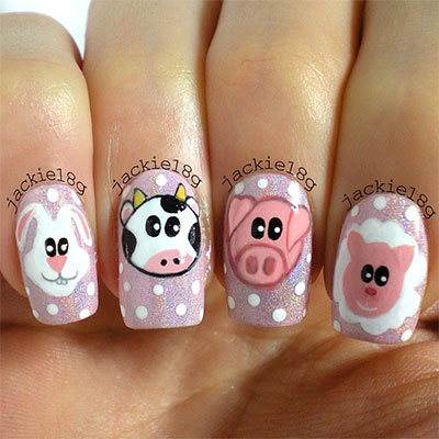 Cute-Zoo-Farm-Animals-Nail-Art-Designs-Ideas-2013-2014-7