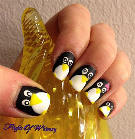 Easy-Cute-Penguin-Nail-Art-Designs-Ideas-2013-2014-1
