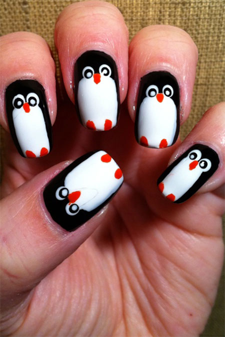 Easy-Cute-Penguin-Nail-Art-Designs-Ideas-2013-2014-10