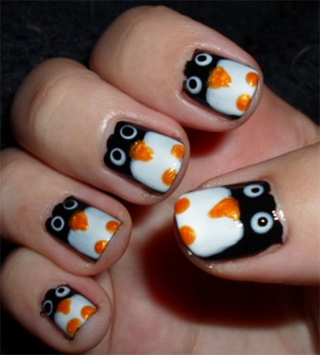 Easy-Cute-Penguin-Nail-Art-Designs-Ideas-2013-2014-11