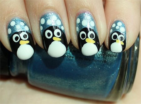 Easy-Cute-Penguin-Nail-Art-Designs-Ideas-2013-2014-5