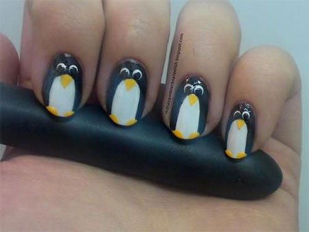 Easy-Cute-Penguin-Nail-Art-Designs-Ideas-2013-2014-8