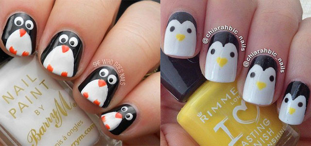 easy cute penguin nail art designs ideas 2013 - Nail Art Designs Ideas