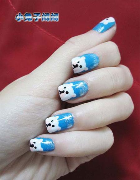 Easy-Polar-Bear-Nail-Art-Designs-Ideas-2013-2014-For-Beginners-Learners-4