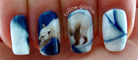 Easy-Polar-Bear-Nail-Art-Designs-Ideas-2013-2014-For-Beginners-Learners-9