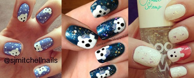 Easy-Polar-Bear-Nail-Art-Designs-Ideas-2013-2014-For-Beginners-Learners