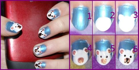 easy polar bear nail art tutorial 2013/ 2014 for beginners