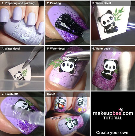 easy  simple panda nail art tutorial 2013/ 2014 for