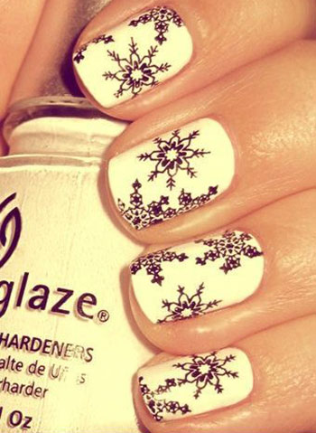easy  simple snowflake nail art designs  ideas 2013