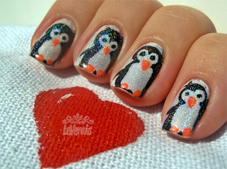 simple penguin nail art designs  ideas 2013/ 2014