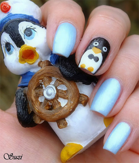 Penguin Nail Art Designs: Simple Penguin Nail Art Designs & Ideas 2013/ 2014
