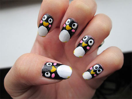simple penguin nail art designs ideas 2013 2014 fabulous nail art designs. Black Bedroom Furniture Sets. Home Design Ideas