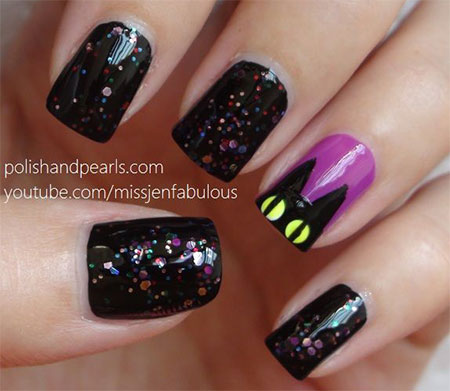 Amazing-Black-Cat-Nail-Art-Designs-Ideas-2014-2015-3