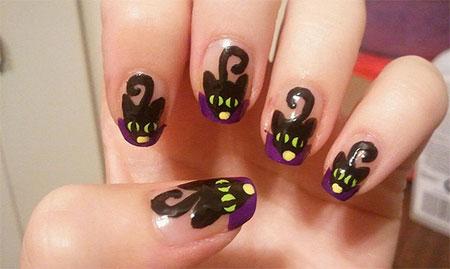 Amazing-Black-Cat-Nail-Art-Designs-Ideas-2014-2015-5