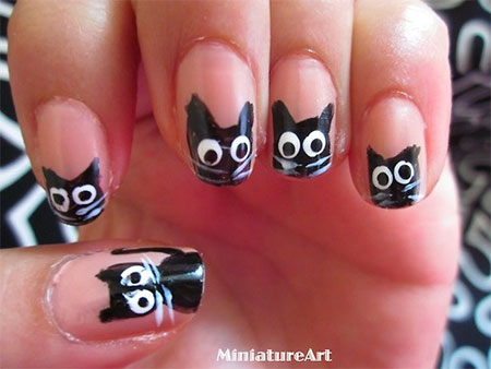 Amazing Black Cat Nail Art Designs Ideas 2014