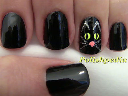 Amazing-Black-Cat-Nail-Art-Designs-Ideas-2014-2015-9