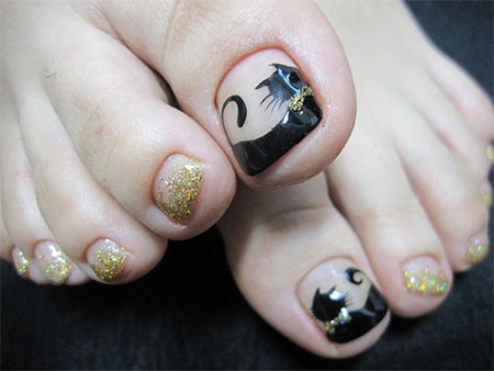 cat face toe nail art designs amp ideas 2014 for girls