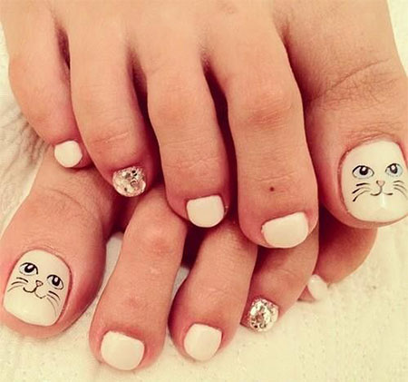 Cat-Face-Toe-Nail-Art-Designs-Ideas-2014-For-Girls-3