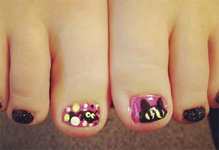 Cat-Face-Toe-Nail-Art-Designs-Ideas-2014-For-Girls-7