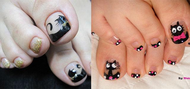 Cat-Face-Toe-Nail-Art-Designs-Ideas-2014-For-Girls