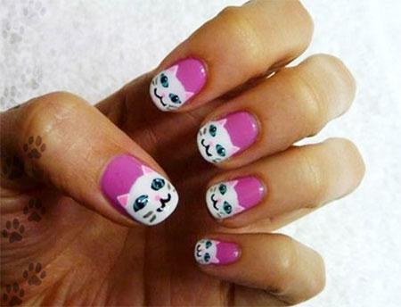 Cute-Cat-Face-Nail-Art-Designs-Ideas-2013-2014-5