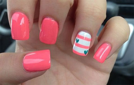 Cute Little Heart Nail Art Designs Ideas 2014
