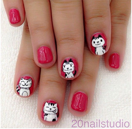 Easy-Cat-Face-Nail-Art-Designs-Ideas-2013-2014-1