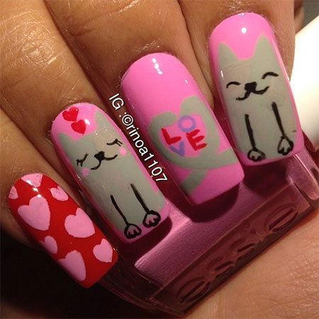 Easy-Cat-Face-Nail-Art-Designs-Ideas-2013-2014-12