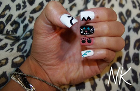 Easy-Cat-Face-Nail-Art-Designs-Ideas-2013-2014-15