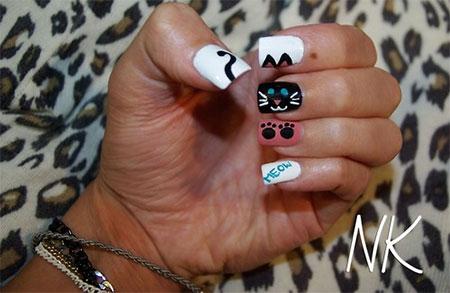 Easy-Cat-Face-Nail-Art-Designs-Ideas-2013-2014-15