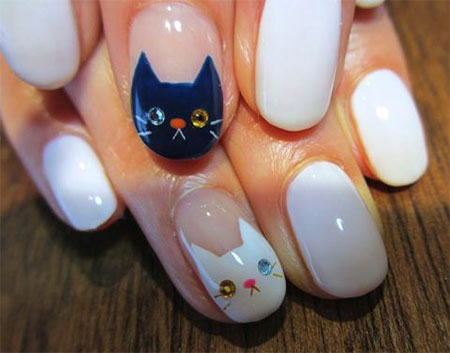 Easy-Cat-Face-Nail-Art-Designs-Ideas-2013-2014-2