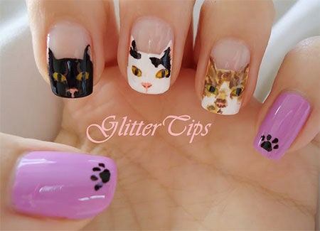 Easy-Cat-Face-Nail-Art-Designs-Ideas-2013-2014-5