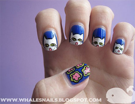 Easy-Cat-Face-Nail-Art-Designs-Ideas-2013-2014-6