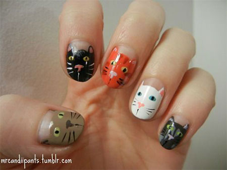 Easy-Cat-Face-Nail-Art-Designs-Ideas-2013-2014-7