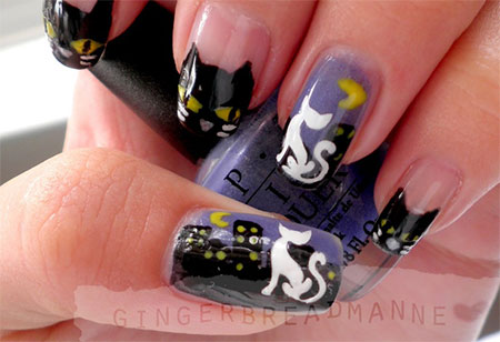 Easy-Cat-Face-Nail-Art-Designs-Ideas-2013-2014-8