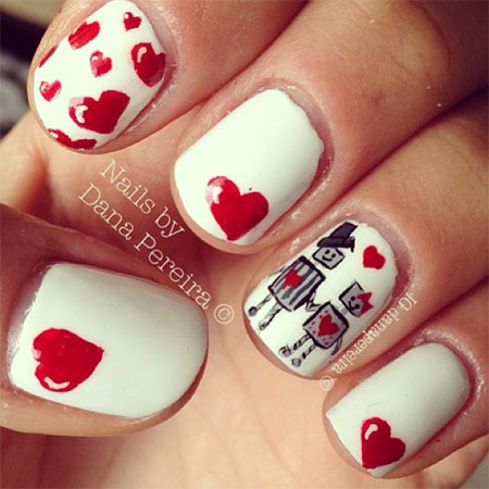 Elegant Heart Nail Art Designs Ideas For Valentines Day 2014