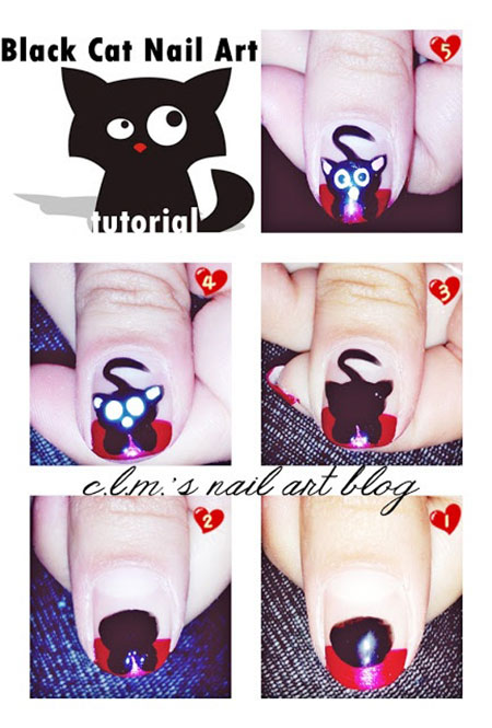Simple-Easy-Cat-Nail-Art-Tutorials-2014-2015-For-Beginners-Learners-3