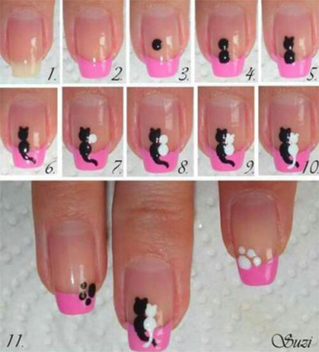 Simple-Easy-Cat-Nail-Art-Tutorials-2014-2015-For-Beginners-Learners-4