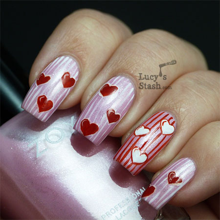 Very-Simple-Easy Valentines-Day-Nail-Art-Designs-Ideas-For-Learners-2014-1