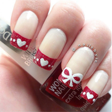 very simple  easy valentine's day nail art designs