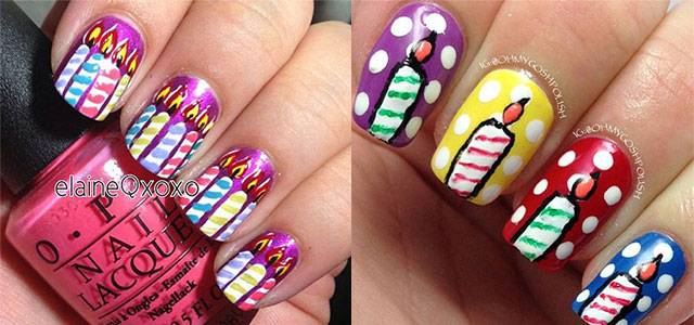 10 Amazing Happy BDay Candle Nail Art Designs Ideas 2014 For