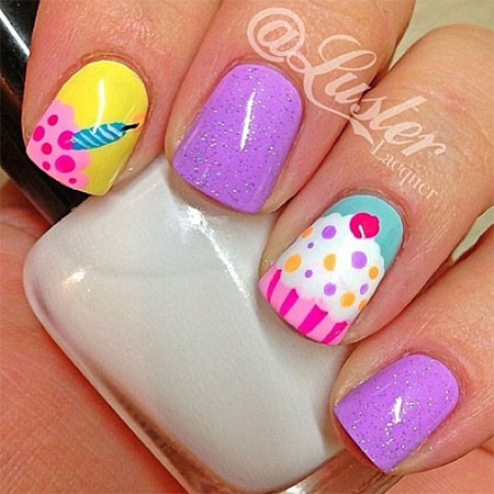 Cake Decorating Nails : 10 + Awesome Happy B Day Cake Nail Art Designs & Ideas ...