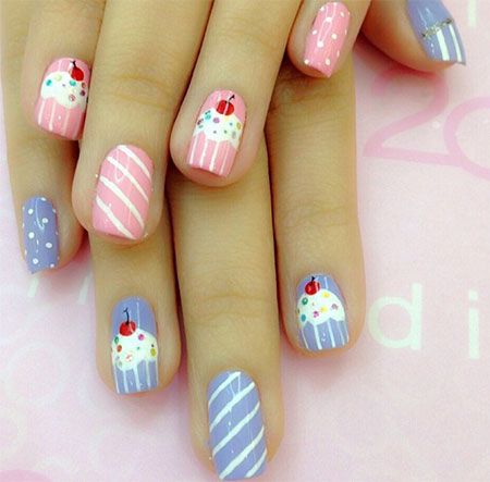 10-Awesome-Happy-B-Day-Cake-Nail-Art- - 10 + Awesome Happy B'Day Cake Nail Art Designs & Ideas 2014 For