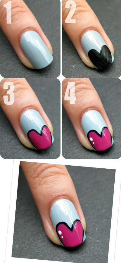 Amazing-Valentines-Day-Nail-Art-Tutorials-2014-For-Beginners-Learners-6