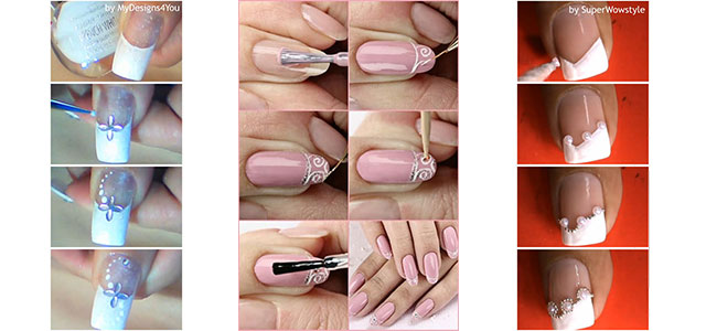 Easy Bridal Wedding Nail Art Tutorials For Girls 2014