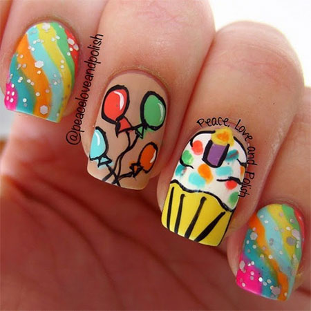Happy Birthday Nail Art Designs & Ideas 2014 | Fabulous Nail Art
